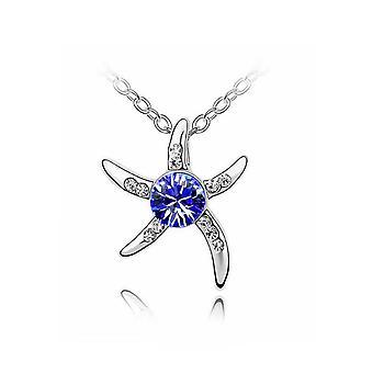 Kvinnors Silver sjöstjärna halsband Mörk blå sten