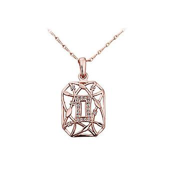Rose Gold Geometrical Pendant Necklace Crystal Stones