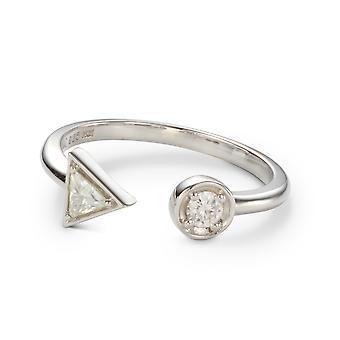 Pour toujours classique 3,0 mm anneau rond et le Triangle Moissanite deux Pierre