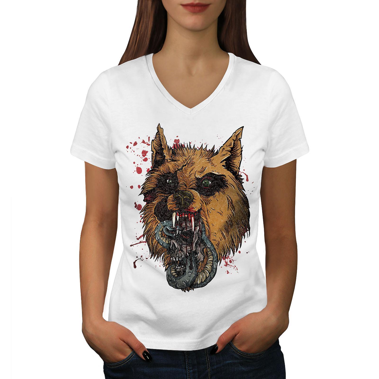 Hyène bête sauvage animaux femmes WhiteV-Neck T-shirt | Wellcoda