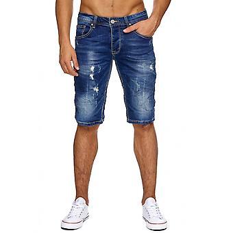 Mænds Jeans Shorts korte iturevne bukser mænds shorts Stonewashed rippet flossede