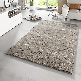 Design high pile carpet Nouveau taupe Brown