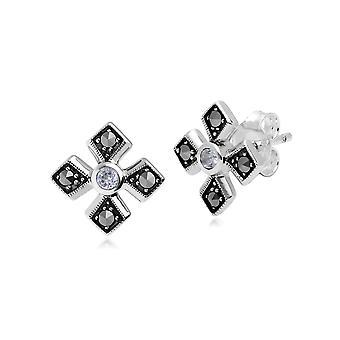 Art-Deco-Stil Runde klar Topas & Marcasite Gothic Stil Kreuz Ohrstecker in 925 Sterling Silber 214E859710925