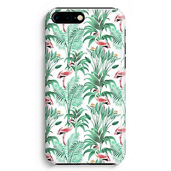 iPhone 8 Plus pełna obudowa głowiczki (błyszcząca) - Flamingo liści