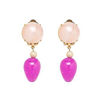 Gemshine örhängen Örhängen guldpläterad RoseQuartz Jade rosa TROPFEN 3,5 cm
