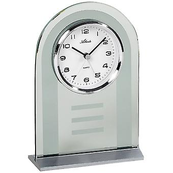 Atlanta 3123 style clock clock quartz silver glass with wake-up function