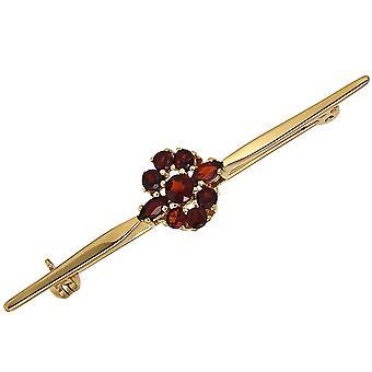 Bross 375 arany sárga arany 9 Garnet Red Lapel PIN gránátok Red