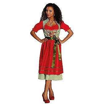 Grønn rød Dirndl Bayern kle Yodelling kjole pinafore kostyme for kvinner