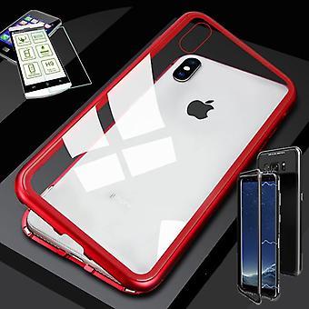 Для Apple iPhone X 10 5.8 / 5.8 2018 XS магнит / металл / стекло чехол случае красный / прозрачный + 0.26 мм H9 твердого стекла