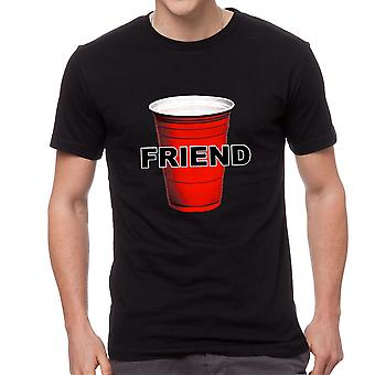 Humor Beer Red Cup Friend Graphic Men's Black T-shirt