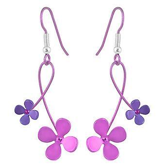 Ti2 Titanium 30mm Double Drop Four Petal Flower Earrings - Pink