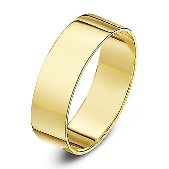 Star Wedding Rings 9ct Yellow Gold Light Flat Shape 6mm Wedding Ring