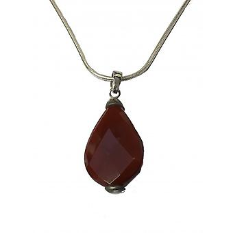 """Cavendish French Silver and Carnelian Teardrop Barred Pendant with 18-20"""" Chain"""