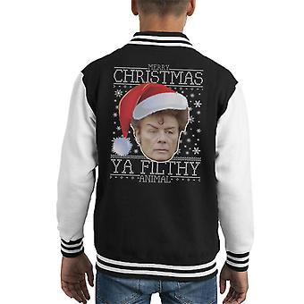 Merry Christmas Ya Filthy Animal Gary Glitter Kid's Varsity Jacket