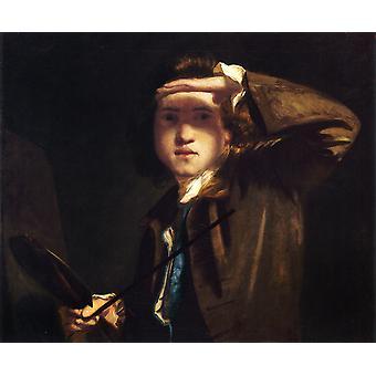 Selvportræt, Joshua Reynolds, 50x40cm