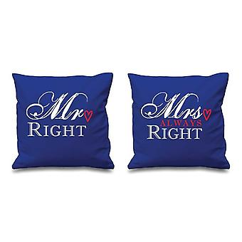 Mr Right Mrs Always Right Blue Cushion Covers 16