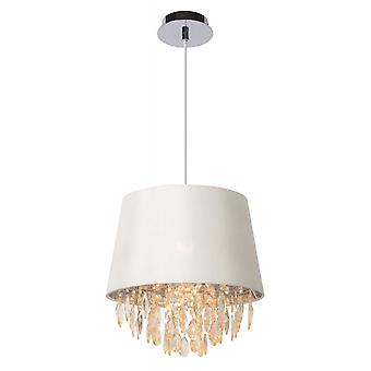 Lucide Dolti 30cm White Cloth Shade Pendant With Crystal