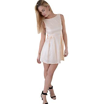 Lovemystyle Silk Satin Nude Skater Dress With Backless Bow Back