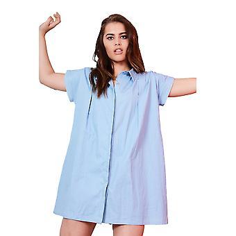 LMS Denim doux léger manches courtes bleu Swing robe avec attache arrière