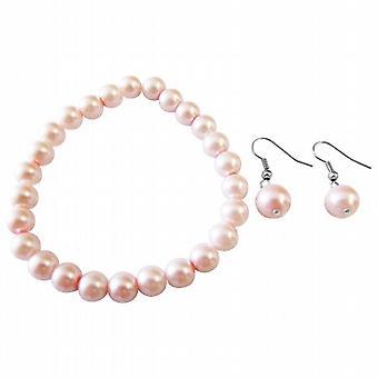Pink Pearls Jewelry Bracelet Sterling Silver Hook Earrings