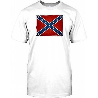 Confederate Grunge Effect Flag Mens T Shirt