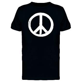 Знак мира белой кистью инсульта Tee мужчины-изображений Shutterstock