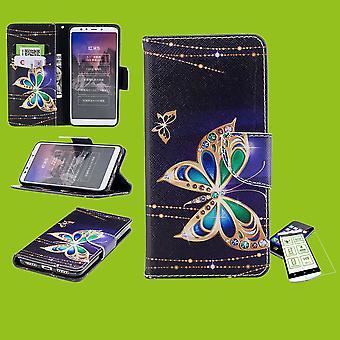 För Samsung Galaxy M20 6,3 tum faux läder väska plånbok motiv 32 + H9 hårt glas skydd ärm fall täcka påse nya