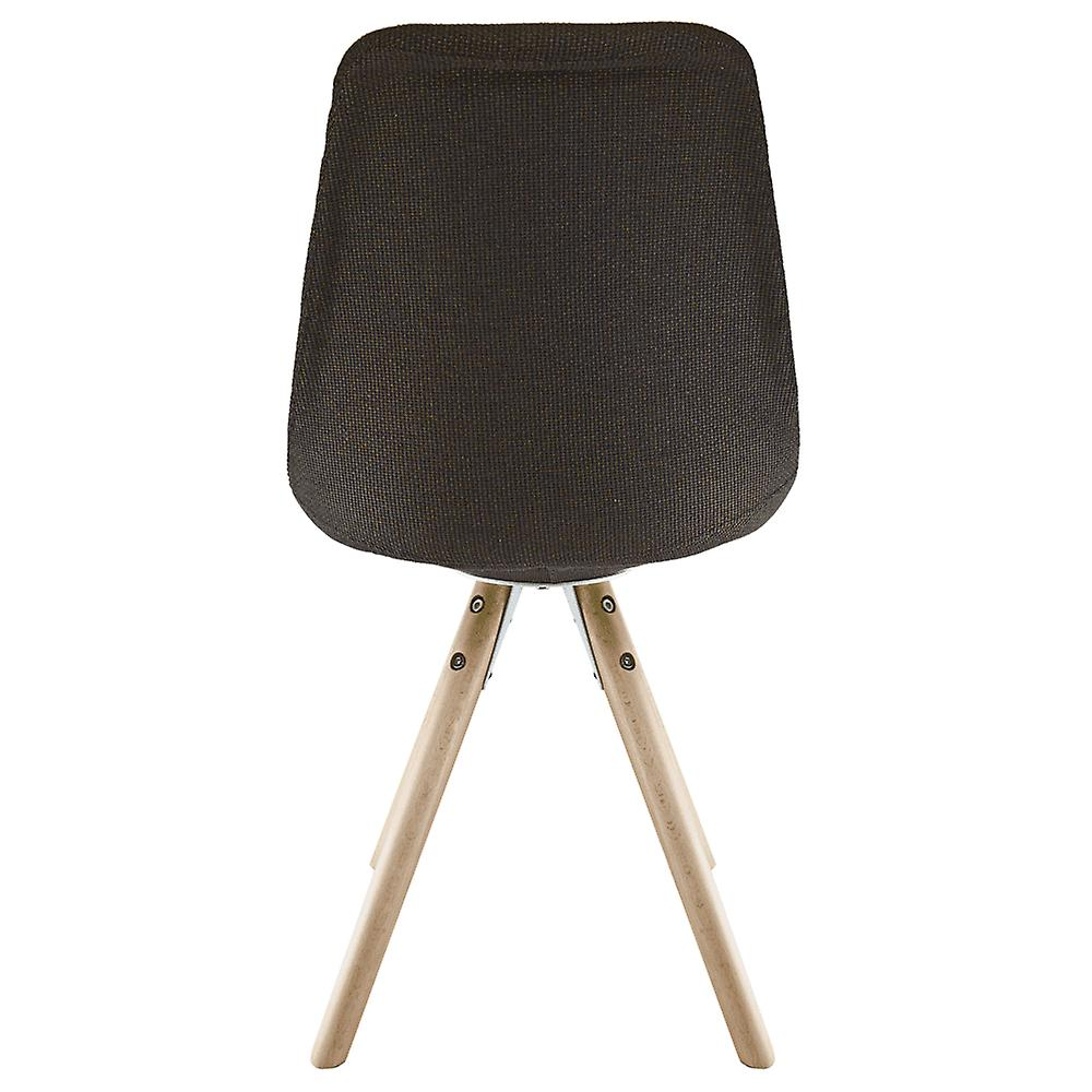 Fusion Living Eiffel Inspiré Brown Fabric Dining Chair with Pyramid Light Wood Legs