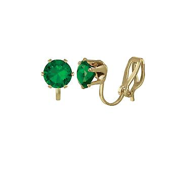 Eternal Collection Tara Emerald Green Crystal Gold Tone Stud Clip On Earrings