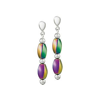 Eternal Collection Fascination Rainbow Hematite Drop Clip On Earrings