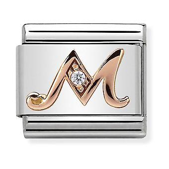 Nomination Classic Letter M Steel, CZ et 9k Rose Gold Link Charm 430310/13