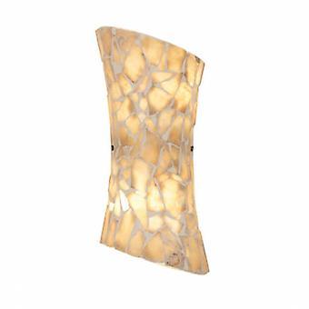 2 Light Indoor Wall Light Satin Nickel, Mosaic Natural Stone