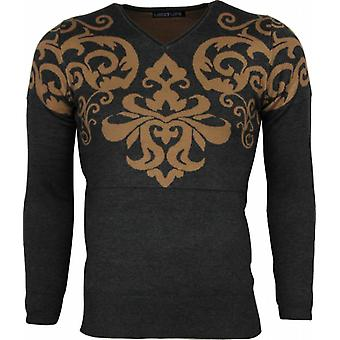 Casual Sweater - Tattoo Motif Embroidery - Grey