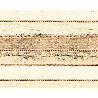 A.S. Creation AS Creation Distressed Wood Beam Pattern Wallpaper Rope Stripe Faux Effect 353402