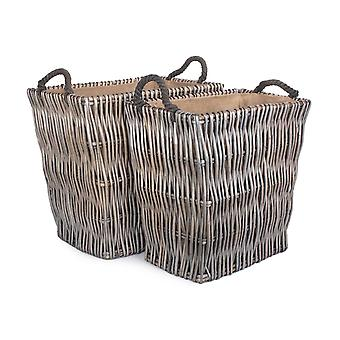 Set of 2 Rectangular Grey Log Wicker Basket