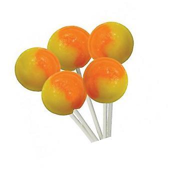 1 zakje van 5 sinaasappel en citroensmaak Mega lollies