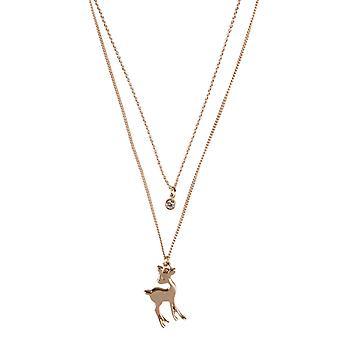 Louche Mehreen Deer Pendant Layer Necklace Gold
