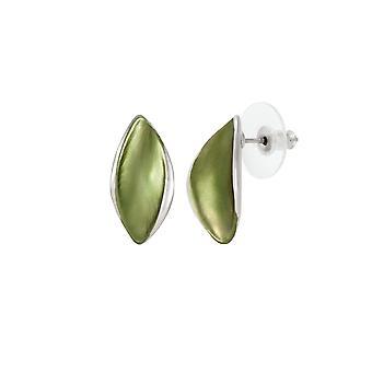 Eternal Collection Haven Olive Green Enamel Silver Tone Stud Pierced Earrings