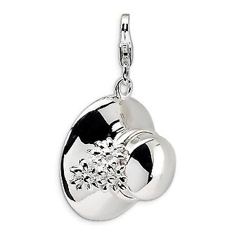 925 Sterling Silver Polished Open bottom Rhodium plated Fancy Lobster Closure 3 D Enameled Hat With Lobster Clasp Charm