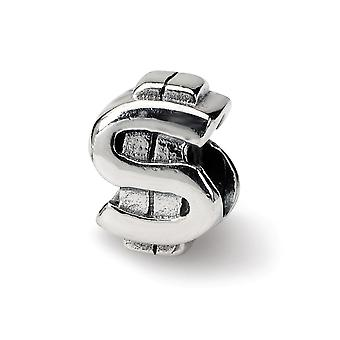 925 Sterling sølv polert Antique finish refleksjoner SimStars dollar Sign bead Charm