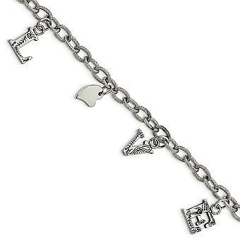 Edelstahl baumeln Fancy Hummer Verschluss poliert und strukturierte Liebe Charm Armband 8,25 Zoll Schmuck Geschenke für Frauen