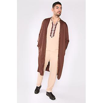 Jabador assem men's tunica top giacca longline e pantaloni ricamati co-ord set in marrone