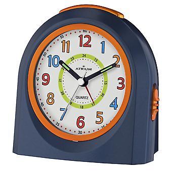 ATRIUM wekker analoge Quartz blauw/oranje A921-5 zonder te tikken met licht en snooze