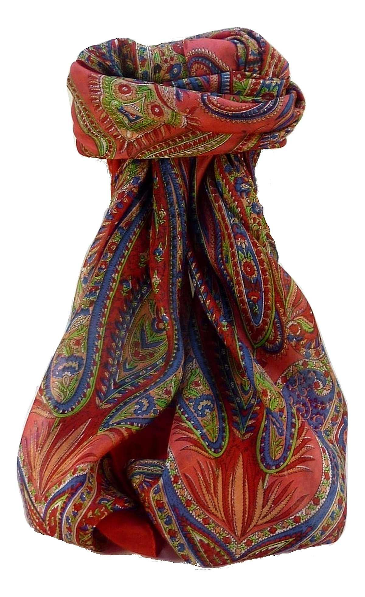 Mulberry Silk Traditional Square Scarf Zayd Scarlet by Pashmina & Silk