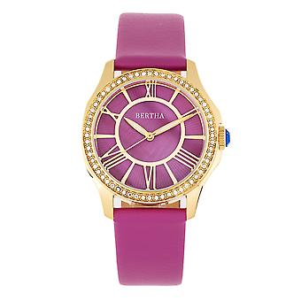 Bertha Donna Mother-of-Pearl Leather-Band Watch - Purple