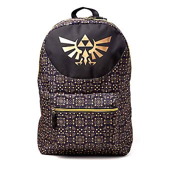 Zelda Backpack Hylian Crest Allover Printed new Official Nintendo Black