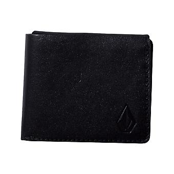 Volcom 3 Fold Leather Leather Wallet in Black
