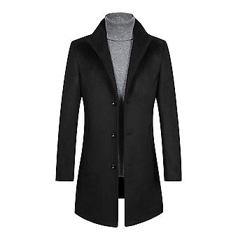Allthemen Men's Slim Fit Coat Wool-Containing Warm Mid-Long Overcoat
