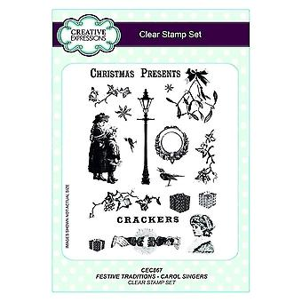 Creative Expressions Clear Stamp Set - Festive Traditions - Carol Singers