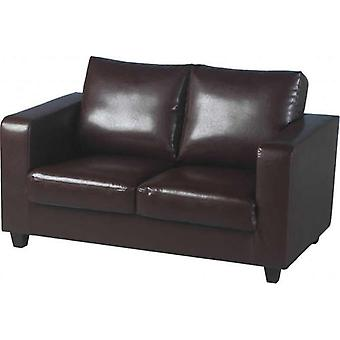 Tempo Two Seater Sofa-in-a-box - Brown Pu